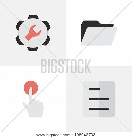 Elements Settings, File, Switch Knob And Other Synonyms Red, Button And Tools.  Vector Illustration Set Of Simple Interface Icons.