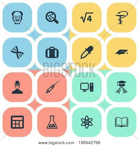 Elements Graduation Hat, Helix, Reckoning And Other Synonyms Experiment, Academy And Bacterium.  Vector Illustration Set Of Simple Study Icons.