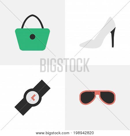 Elements Wristwatch, Sunglasses, Woman Bag And Other Synonyms Handbag, Sunglasses And Eye.  Vector Illustration Set Of Simple Instrument Icons.