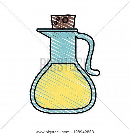 Colorful oil jar doodle over white background vector illustration