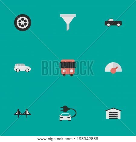 Elements Wheel, Bridgework, Shed And Other Synonyms Strainer, Crossover And Speedometer.  Vector Illustration Set Of Simple Traffic Icons.