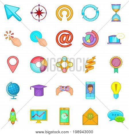 Online entertainment icons set. Cartoon set of 25 online entertainment vector icons for web isolated on white background
