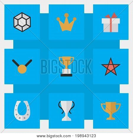 Elements Champion, First, Medal And Other Synonyms Brilliant, Trophy And Coronet.  Vector Illustration Set Of Simple Achievement Icons.
