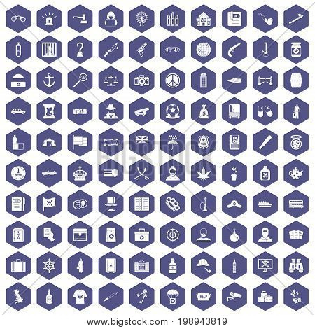 100 offence icons set in purple hexagon isolated vector illustration