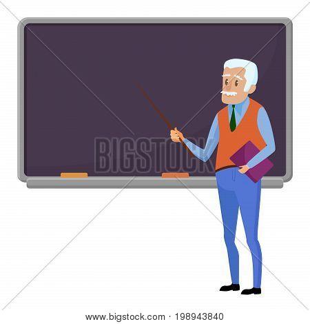 Senior teacher professor standing near blackboard in classroom at school, college or university. Flat design cartoon male character