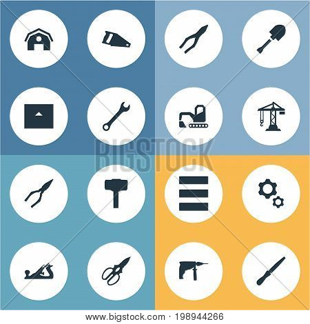 Elements Pliers, Hangar, Construction And Other Synonyms Saw, Tool And Farmhouse.  Vector Illustration Set Of Simple Construction Icons.