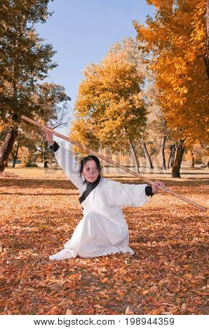 Kung Fu Master In Defensive Stance, One Woman Only, Exercising In The Park