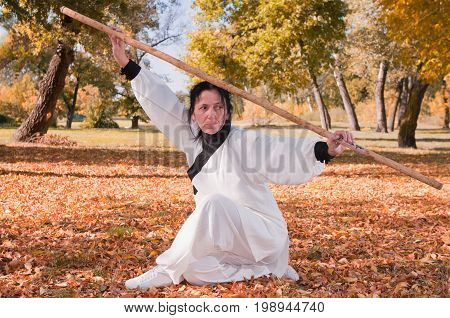 Kung Fu Master With Stick, One Woman Only, Exercising In The Park