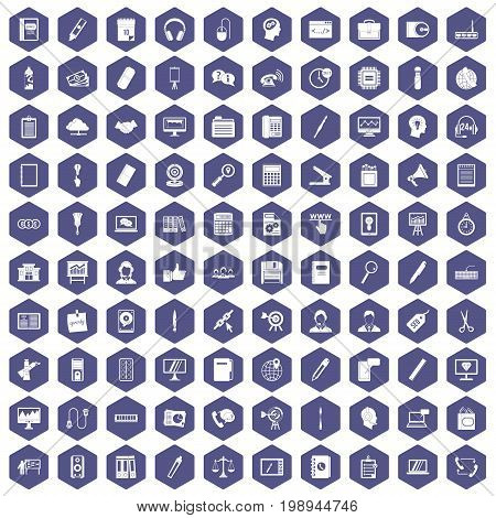 100 office work icons set in purple hexagon isolated vector illustration