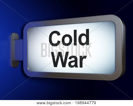 Political concept: Cold War on advertising billboard background, 3D rendering