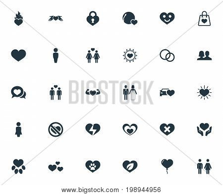 Elements Love, Wounded, Smiling Love And Other Synonyms Homosexual, Heartbreak And Human.  Vector Illustration Set Of Simple Valentine Icons.