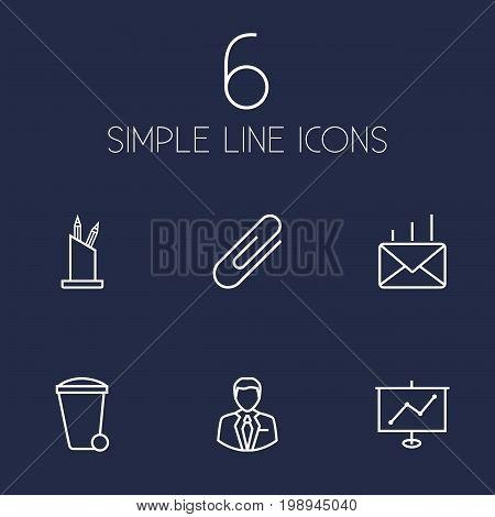 Set Of 6 Bureau Outline Icons Set