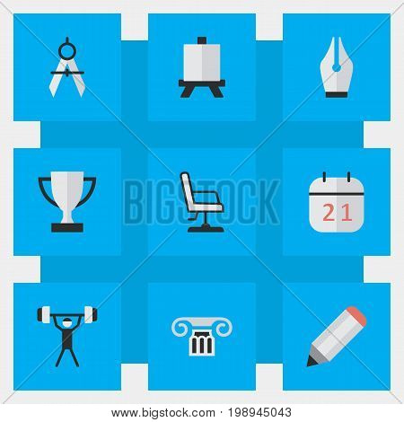 Elements Date Block, Easel, Column And Other Synonyms Board, Date And Weight.  Vector Illustration Set Of Simple Knowledge Icons.