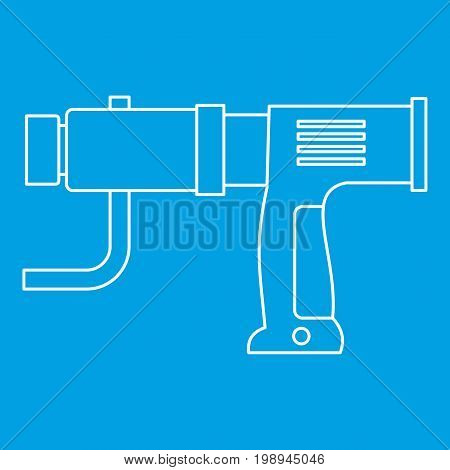 Hand drill icon blue outline style isolated vector illustration. Thin line sign