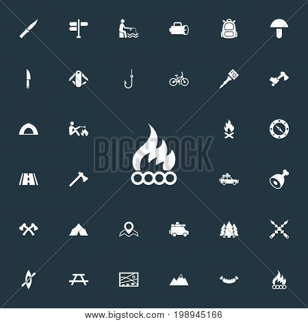 Elements Canvas, Fisherman Tackle, Ice Rock And Other Synonyms Alps, Fishing And Multipurpose.  Vector Illustration Set Of Simple Outdoor Icons.