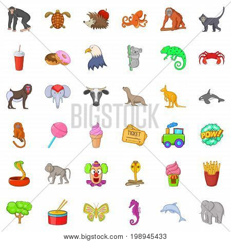 Good zoo icons set. Cartoon style of 36 good zoo vector icons for web isolated on white background
