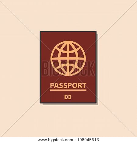 Passport, color flat icon. This is a vector icon for websites and electronic applications. This icon has a size of 48 by 48 pixels. Also, the size of the icons, you can edit in the graphic editor.