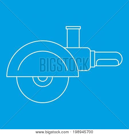High speed cut off machine icon blue outline style isolated vector illustration. Thin line sign