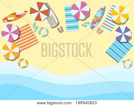 Beach seashore with waves. Chaise lounge with umbrella surfboard. View from above. Bedspread with flip flops. Vector illustration