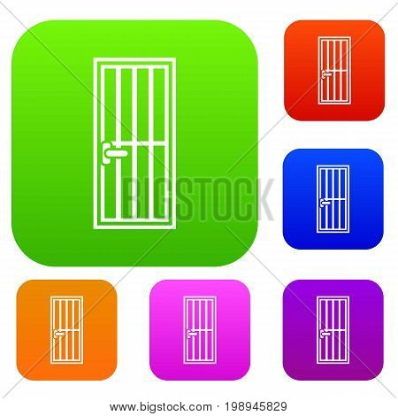 Steel door set icon in different colors isolated vector illustration. Premium collection