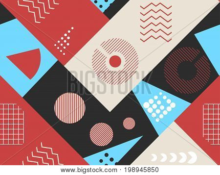 Memphis seamless pattern. Geometric elements memphis in the style of 80s. Bauhaus retro. Vector illustration