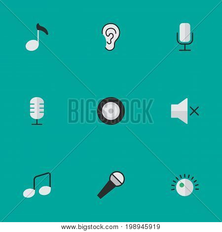 Elements Note, Music Sign, Volume And Other Synonyms Regulator, Record And Volume.  Vector Illustration Set Of Simple Melody Icons.