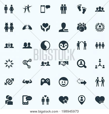 Elements Magnifier, Mates, Penguin And Other Synonyms Smile, Colleague And Symbol.  Vector Illustration Set Of Simple Buddies Icons.