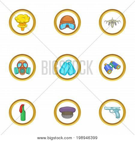 Guns icons set. Cartoon set of 9 guns vector icons for web isolated on white background