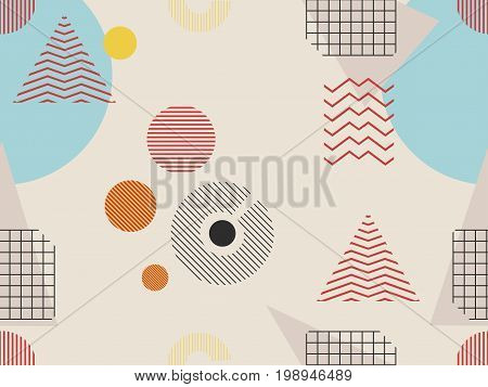 Memphis Seamless Pattern. Geometric Elements Memphis In The Style Of 80S. Bauhaus Retro. Vector Illu