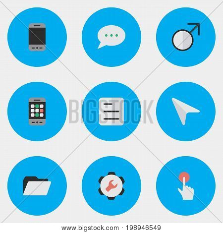 Elements Document, Pointer, Mobile Phone And Other Synonyms Phone, Mouse And Message.  Vector Illustration Set Of Simple Menu Icons.