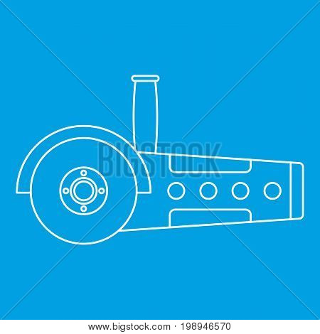 Circular saw icon blue outline style isolated vector illustration. Thin line sign