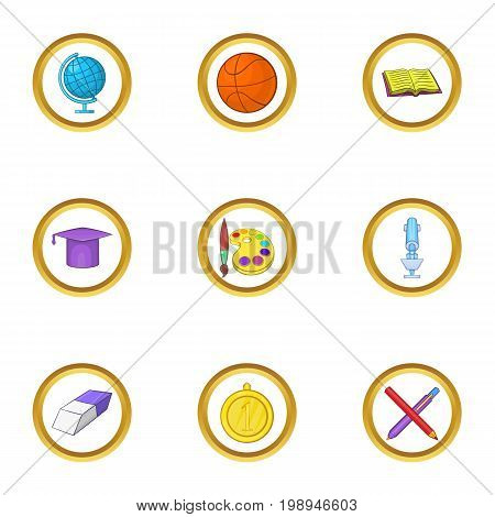 School time icons set. Cartoon set of 9 school time vector icons for web isolated on white background
