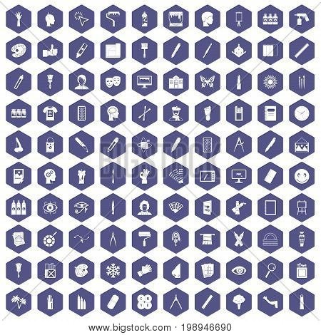 100 paint icons set in purple hexagon isolated vector illustration
