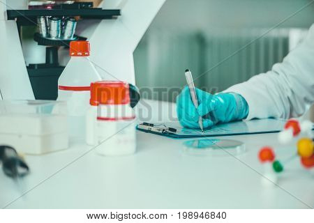 Scientist Researching In Laboratory, Toned Image, Selective Focus