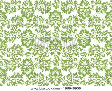 Greenery flower leaves seamless pattern background, illustration. Spring color green foliage