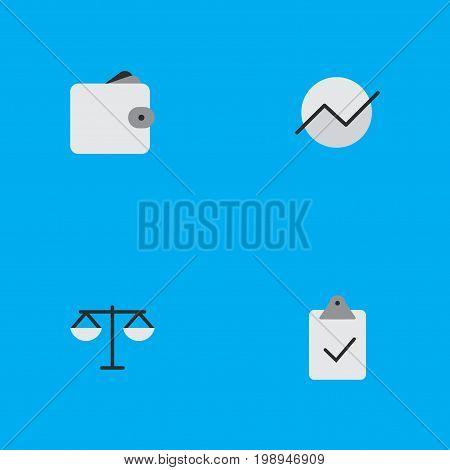Elements Diagram, Done, Justice And Other Synonyms Diagram, Done And Growing.  Vector Illustration Set Of Simple Trade Icons.