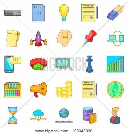 Earning online icons set. Cartoon set of 25 earning online vector icons for web isolated on white background