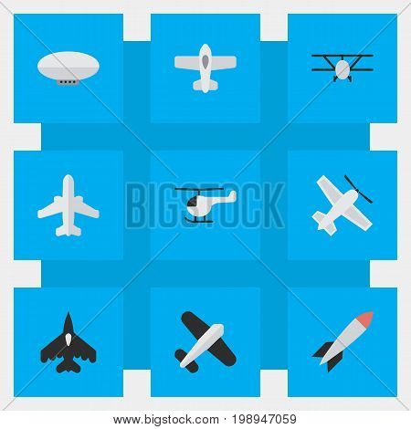 Elements Aviation, Airliner, Balloons And Other Synonyms Copter, Airliner And Flying.  Vector Illustration Set Of Simple Aircraft Icons.