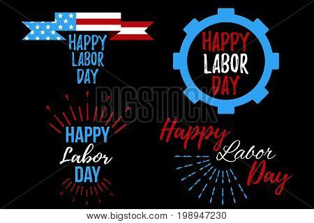 Set Of Happy Labor Day Banner And Giftcard.
