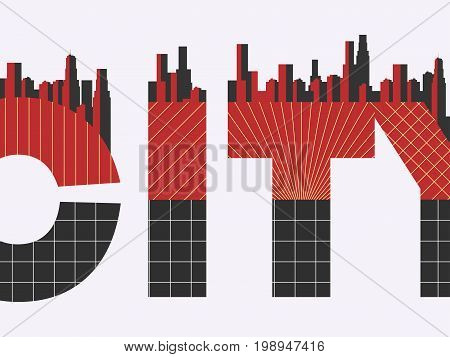City Word With Geometric Figures In The Style Of The Bauhaus. Retro Poster. Typographical Banner Wit
