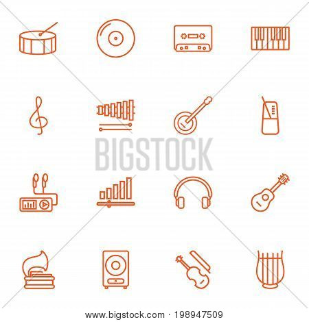 Set Of 16 Melody Outline Icons Set