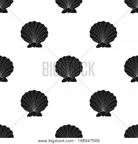 Prehistoric seashell icon in black design isolated on white background. Dinosaurs and prehistoric symbol stock vector illustration.