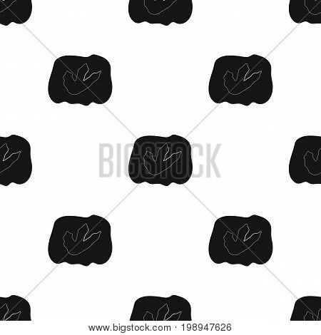Rock with dinosaur footprint icon in black design isolated on white background. Dinosaurs and prehistoric symbol stock vector illustration.