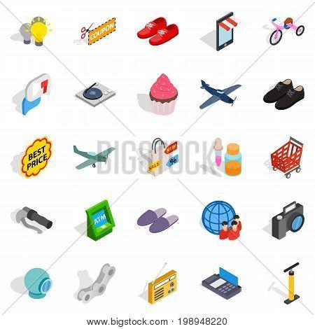 Internet marketing icons set. Isometric set of 25 internet marketing vector icons for web isolated on white background