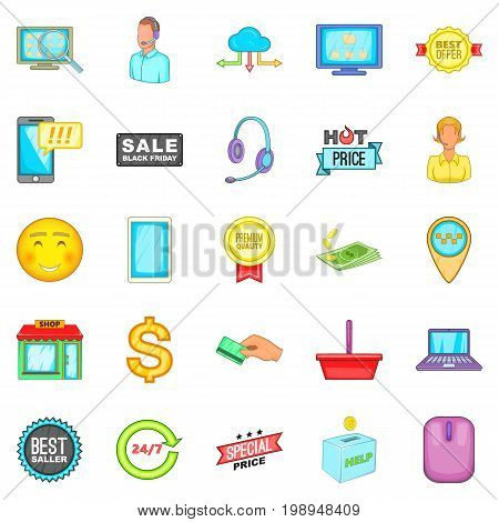 Online sale icons set. Cartoon set of 25 online sale vector icons for web isolated on white background