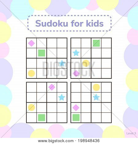 Vector Illustration. Sudoku For Kids With Pictures. Logic Game F