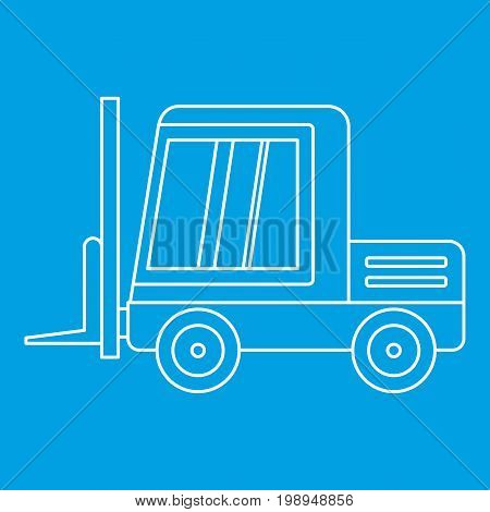 Stacker loader icon blue outline style isolated vector illustration. Thin line sign