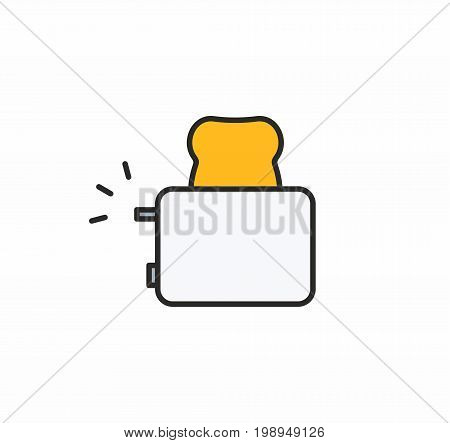Toaster line icon on white background. Vector illustration.