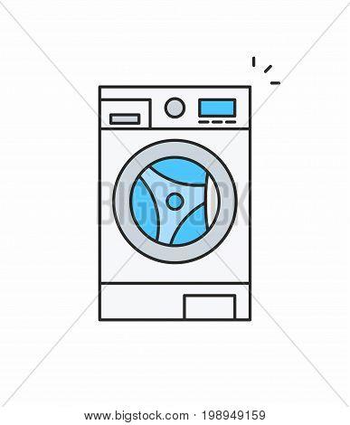 Washer line icon on white background. Vector illustration.