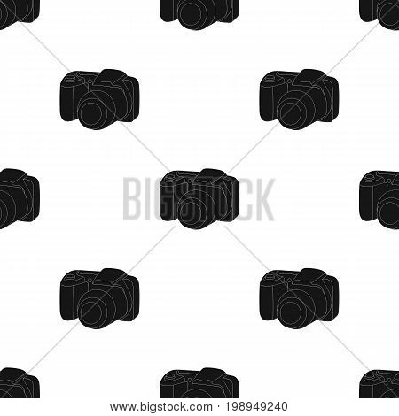 Digital camera icon in black design isolated on white background. Family holiday symbol stock vector illustration.